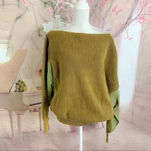 NEW Free People Olive Green Off Shoulder Sweater